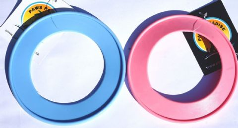 MINI DOG FRISBEE/ RING FLYER DOG PUPPY FETCH TOY PINK/BLUE